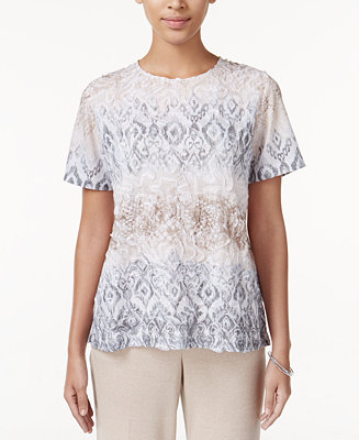 Alfred dunner acadia collection textured printed top for Alfred dunner wedding dresses