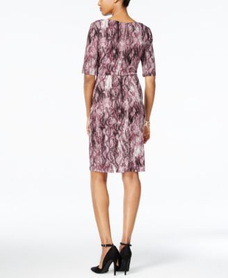Connected Petite Printed Faux-Wrap Dress
