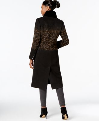 Jones New York Leopard-Print Midi Coat with Faux-Fur Scarf