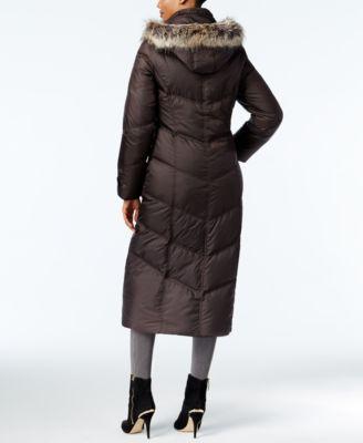 London Fog Faux-Fur-Trim Maxi Puffer Coat
