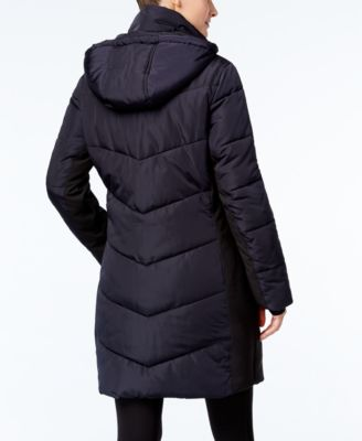 Calvin Klein Hooded Quilted Colorblock Water Resistant Puffer Coat
