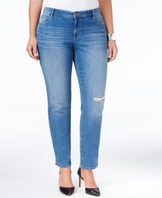Style & Co. Plus Size Distressed Saint Wash Slim-Leg Jeans, Only at Macy's