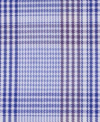 MICHAEL Michael Kors Mens Classic-Fit Non-Iron Purple Check Dress Shirt