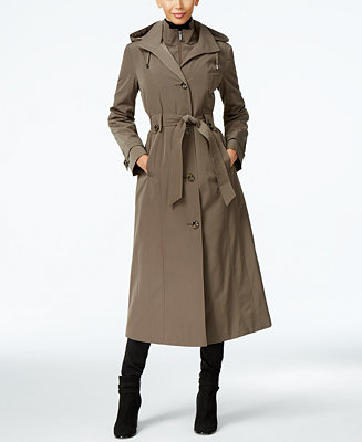 London Fog Hooded Layered Maxi Trench Coat Coats Women