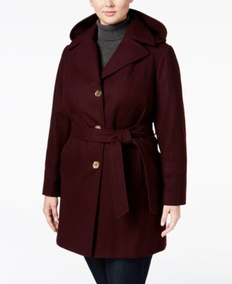 MICHAEL Michael Kors Plus Size Hooded Walker Coat