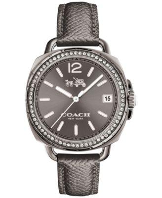 COACH Women's Tatum Gray Leather Strap Watch 34mm 14502628