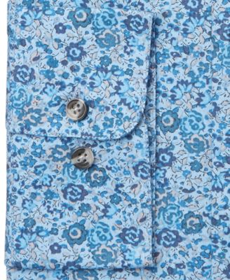 Bar III Slim-Fit Blue Painted Floral D..