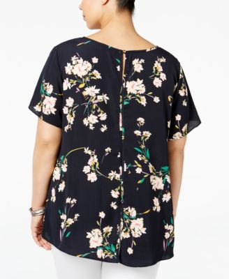 ING Plus Size Floral-Print High-Low Top
