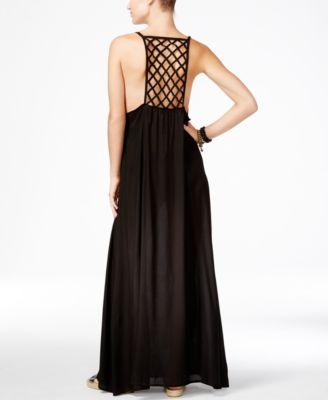 Raviya Lattice-Back Maxi Dress Cover-Up