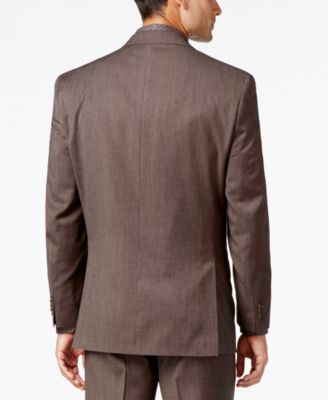 Sean John Mens Classic-Fit Brown Pindot Suit Jacket