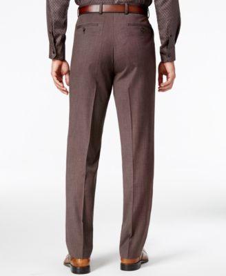 Sean John Mens Classic-Fit Brown Pindot Suit Pants