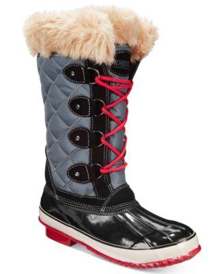 Khombu Womens Melanie Lace-Up Faux-Fur Boots