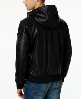 Tommy Hilfiger Mens Hooded Faux-Leather Bomber Jacket