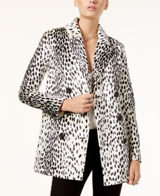 Free People Animal-Print Trench Coat