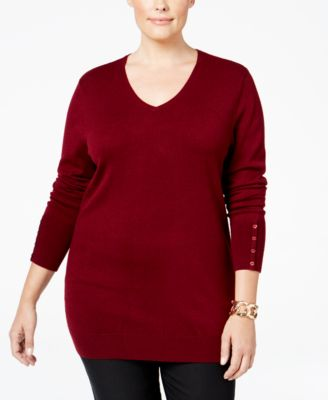 JM Collection Plus Size V-Neck Sweater, Only at Macy's