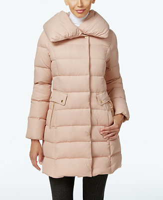 Cole Haan Pillow Collar Asymmetrical Down Coat Coats