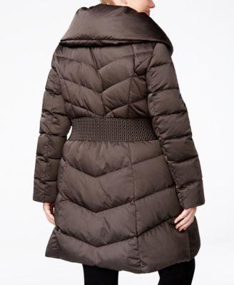 T Tahari Plus Size Pillow-Collar Down Coat