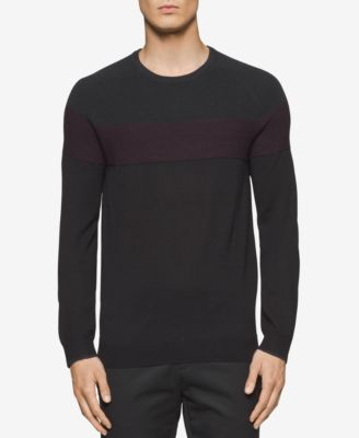 Calvin Klein Mens Waffle-Knit Colorblocked Sweater