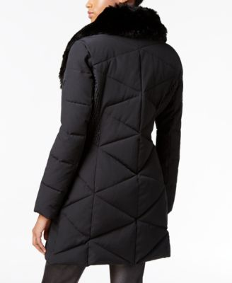 GUESS Asymmetrical Faux-Fur-Collar Puffer Coat Image