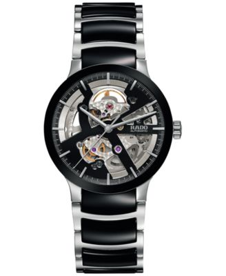 Rado Mens Swiss Automatic Centrix Open Heart Two-Tone Stainless Steel & High Tech Ceramic Bracelet Watch 38mm R30178152