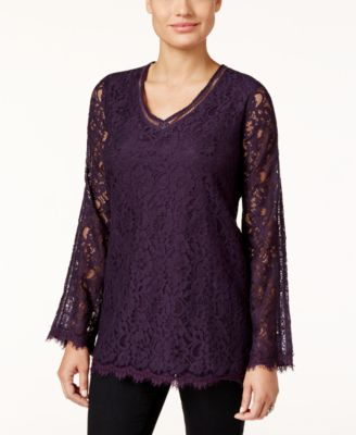 Style & Co. Lace Bell-Sleeve Top