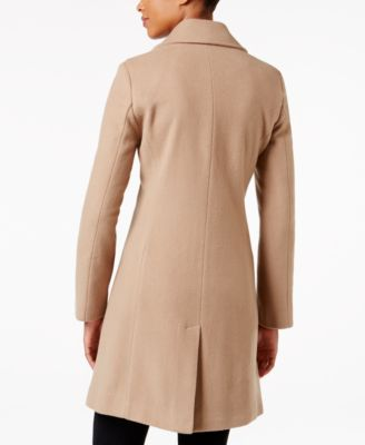Calvin Klein Wool-Cashmere-Blend Notch Collar Walker Coat