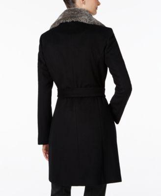 Calvin Klein Faux-Fur-Collar Belted Walker Coat