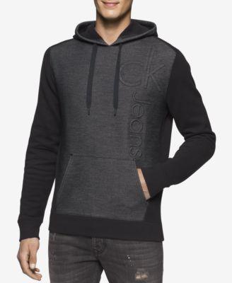 Calvin Klein Jeans Mens Colorblocked Embossed Logo Hoodie