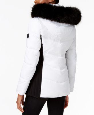 Calvin Klein Faux-Fur-Trim Water Resistant Puffer Coat