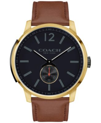 COACH Men's Bleecker Brown Leather Strap Watch 46mm 14602082