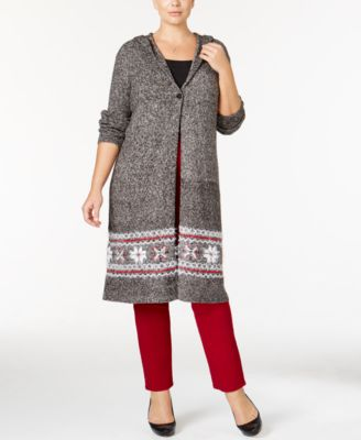 Style & Co. Plus Size Hooded Border-Pattern Duster Cardigan, Only at Macy's