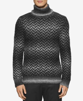 Calvin Klein Mens Space-Dyed Herringbone Sweater