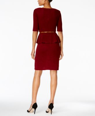 Connected Petite Belted Peplum Dress