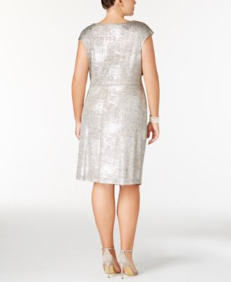 Connected Plus Size Metallic Draped Sheath Dress