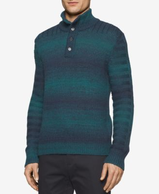 Calvin Klein Mens Space-Dyed Three-Button Sweater