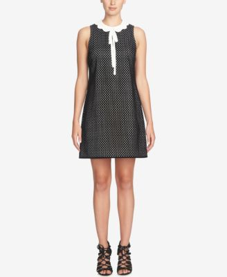 CeCe Joelle Scalloped Tie-Collar Dot Shift Dress