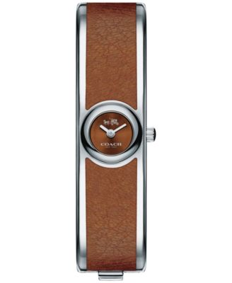COACH Women's Scout Stainless Steel & Brown Leather Bangle Bracelet Watch 16mm 14502606