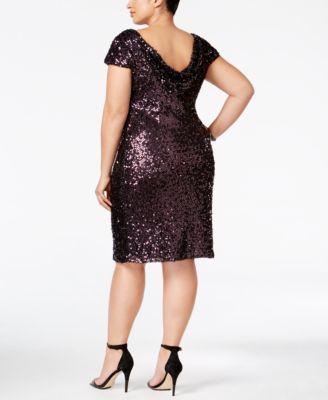 SL Fashions Plus Size Cowl-Back Sequin Cocktail Dress