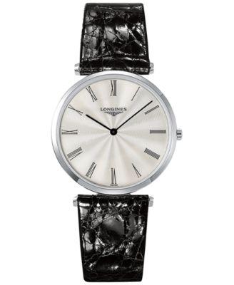 Longines Mens Swiss La Grande Classique de Longines Black Leather Strap Watch 36mm L47554712