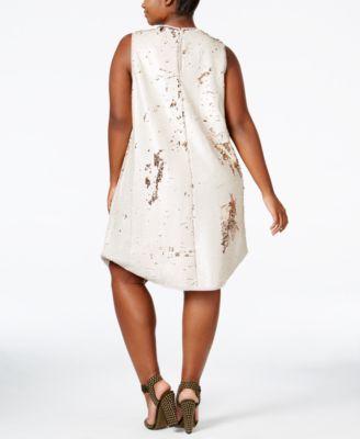 RACHEL Rachel Roy Trendy Plus Size Sequin Shift Dress
