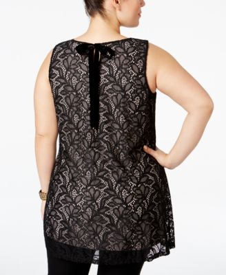 Alfani Plus Size Lace Swing Top