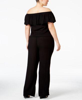INC International Concepts Plus Size Off-The-Shoulder Jumpsuit