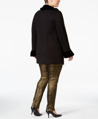 INC International Concepts Plus Size Velvet Ruffled Coat
