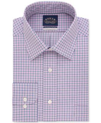 Eagle Mens Classic/Regular Fit Non-Iron Stretch Collar Blue Check Dress Shirt
