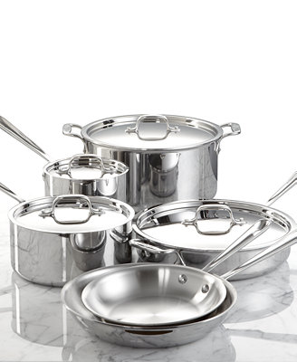 All Clad Stainless Steel 10 Pc Cookware Set Cookware