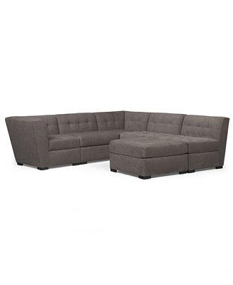 Roxanne fabric 6 piece modular sectional sofa w ottoman for Roxanne sectional sofa macy s