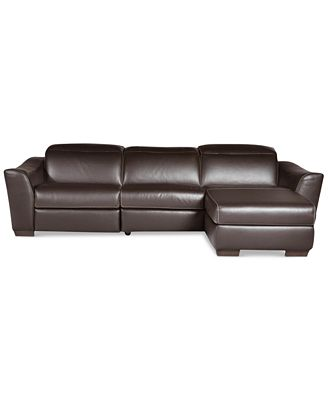 Alessandro 3 Piece Leather Sectional with Chaise & 1 Power Recliner Furniture Macy s