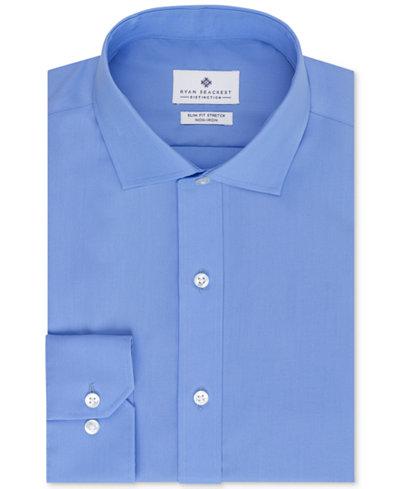 Ryan seacrest distinction non iron slim fit blue solid for No iron slim fit dress shirts
