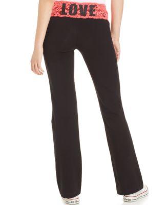 Material Girl Active Juniors Lace-Waistband Wide-Leg Yoga Pants
