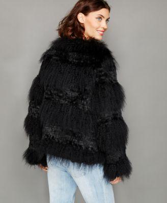 The Fur Vault Rabbit-Trim Knitted Lamb Fur Jacket